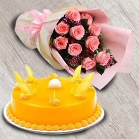 Pretty Pink Roses with Delicious Cake