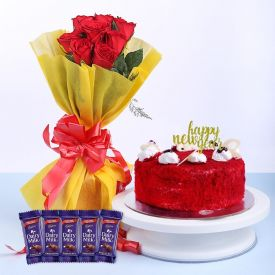Red Velvet with Roses & chocolates