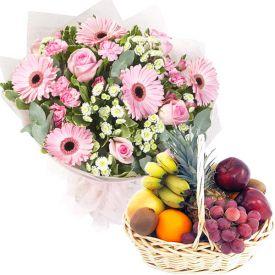 Seasonal Fruits with Mixed Flowers Basket