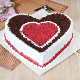 Heart shape red cake