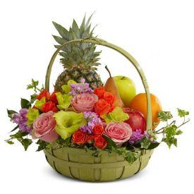 Seasonal Fruits and Flowers Basket
