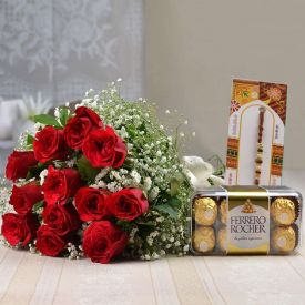 Red roses combo with Rakhi