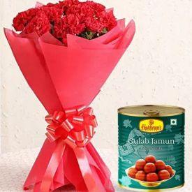 Red Carnation with Gulab jamun