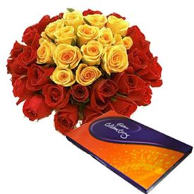 Celebration chocolate with Mixed Roses