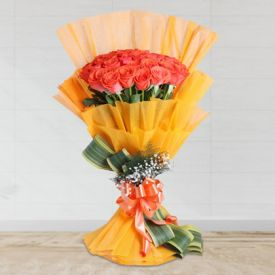 bunch of 25 orange roses