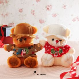 2 Photos Personalized Teddy Couple