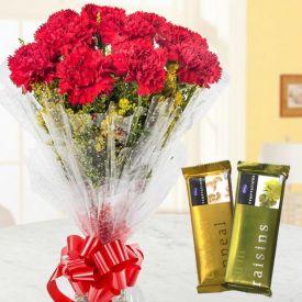 Basket of 20 Red Carnation