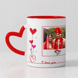 Personalized Red Mug with Heart Handle