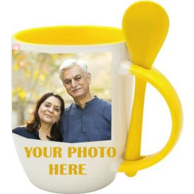 Personalized Yellow Mug with Spoon