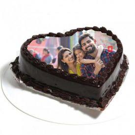 Heart Shape Chocolate Truffle photo Cake
