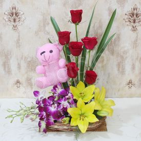 Mixed Flowers With teddy bear