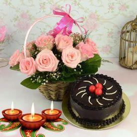 Cake, Flowers With Diya