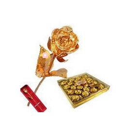 6 Inch Golden Rose with 24 Pcs Ferrero Rocher