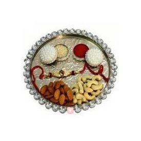 Thali of Rakhi, Roli, Tilak, Chawal and 1/2kg Dry fruits
