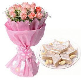 Pink rose with kaju katli