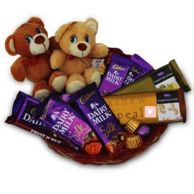 Brown teddy with chocolate