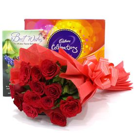 Roses with Celebration Pack