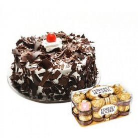1/2 kg Black forest cake and 16 pcs Ferrero rocher