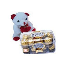 6 inch Teddy Bear and 16 pcs Ferrero rocher