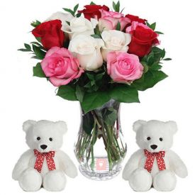Teddy Bear with Mixed roses in vase