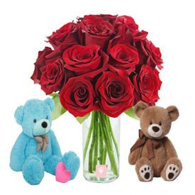 Red roses with 2cute teddy bear