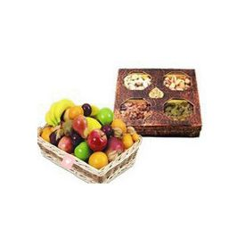 Dry Fruits and Mixed Fruits with Basket