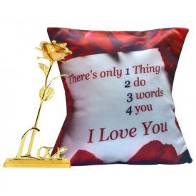 6 Inch Golden Rose with Cushion