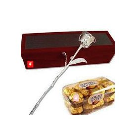 6 Inch Silver Rose with 16 Pcs Ferrero Rocher Chocolates