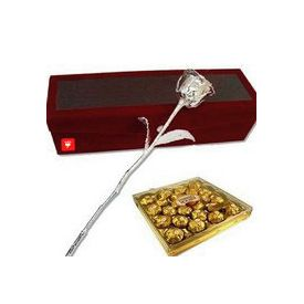 6 Inch Silver Rose with 24 Pcs Ferrero Rocher Chocolates