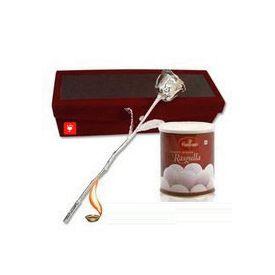6 Inch Silver Rose with 1 kg Haldiram Rasogulla