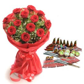 Diwali Crackers with Bunch of Red Roses