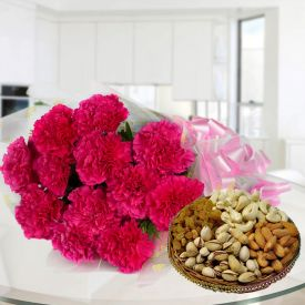 Pink Carnation With Dry Fruits