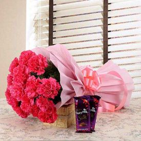 Pink Carnation With Silk