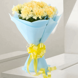 Bunch Of 20 Yellow Carnation