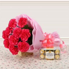 Red Carnation with Ferrero Rocher