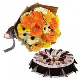 Mixed Gerbera and Chocolate Cake