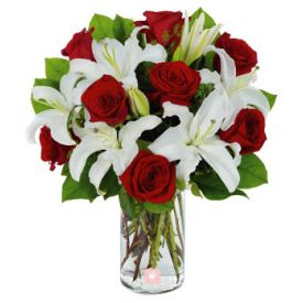 white lily and red Rose with vase