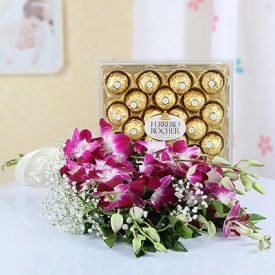 Purple orchid with ferrero rocher