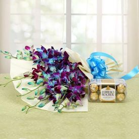 Blue Orchids with Ferrero Rocher