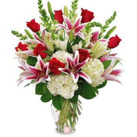 Mixed Roses With Vase