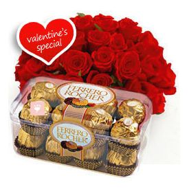 20 Red roses and 16 pcs Ferrero Rocher