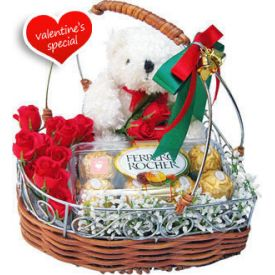 10 Red Roses, 6 inch teddy bear and 16 Pcs Ferrero Rochers with Basket