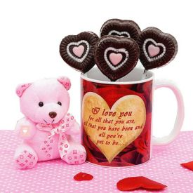 Mugs with 6 inch teddy bear