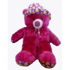 Cute Purple Teddy bear in Cap (30 inch)