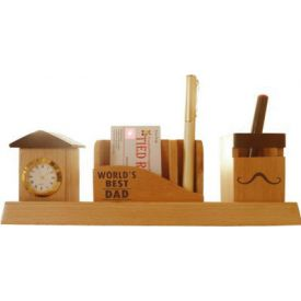 World's Best Dad Pen Stand with Visiting card stand and Clock