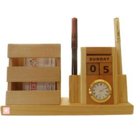Pen Stand with Visiting card stand, Clock and Calender