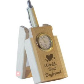 World's Best Boyfriend Pen with Stand and Clock
