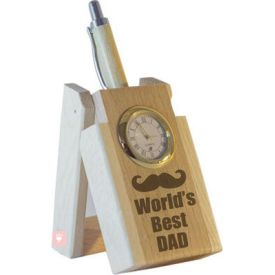 World's Best Dad Pen with Stand and Clock