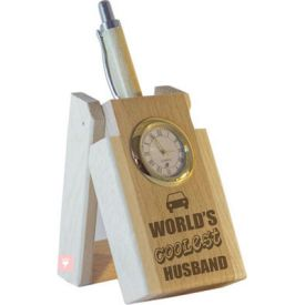 World's Coolest Husband Pen with Stand and Clock