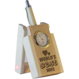 World's Best Wife Pen with Stand and Clock.